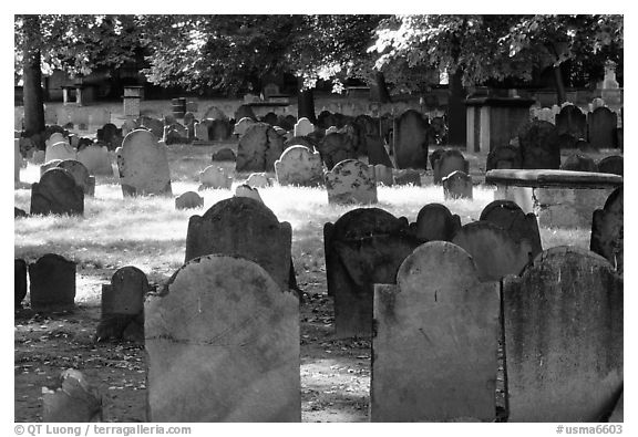 Old headstones in Copp Hill cemetery. Boston, Massachussets, USA (black and white)