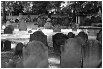 Tombstones in Copp's Hill cemetery. Boston, Massachussetts, USA ( black and white)