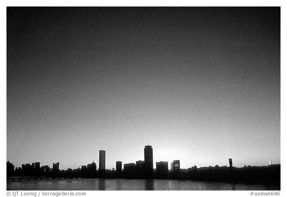 Downtown seen across the Charles River, winter sunrise. Boston, Massachussets, USA (black and white)