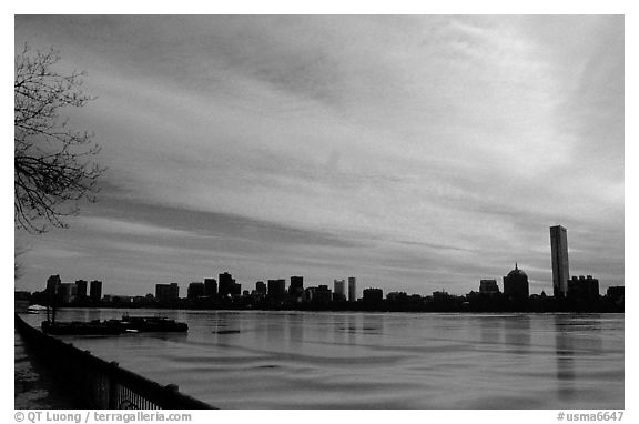 Downtown seen across the frozen Charles River. Boston, Massachussetts, USA (black and white)