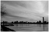 Downtown seen across the frozen Charles River. Boston, Massachussetts, USA ( black and white)