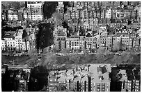 Brick houses seen from the Prudential Tower. Boston, Massachussets, USA ( black and white)