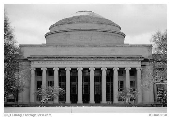 Main entrance of the Massachussetts Institute of Technology. Boston, Massachussets, USA (black and white)
