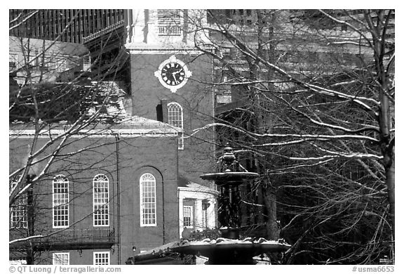Historic church and snow covered branches. Boston, Massachussetts, USA (black and white)