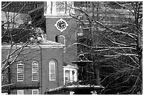 Historic church and snow covered branches. Boston, Massachussetts, USA ( black and white)