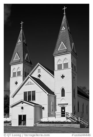 White church with double bell towers, Greenville. Maine, USA (black and white)