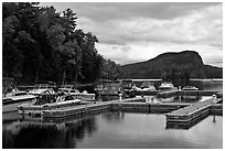 Marina along Moose River, Rockwood. Maine, USA (black and white)