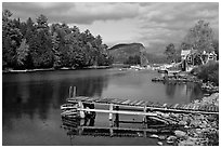 Moose River and Mount Kineo in autumn, Rockwood. Maine, USA (black and white)
