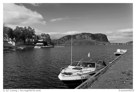 Moosehead Lake marina and  Mount Kineo. Maine, USA (black and white)
