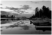 Beaver Cove Marina and Moosehead Lake at dusk, Greenville. Maine, USA ( black and white)