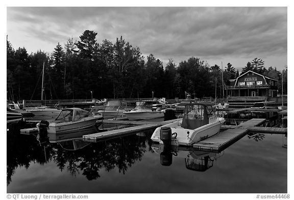 Boats in Beaver Cove Marina at dusk, Greenville. Maine, USA (black and white)