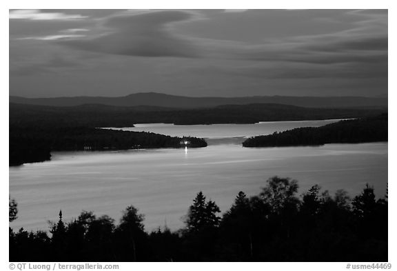 Moosehead Lake at dusk, Greenville. Maine, USA (black and white)