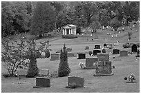 Cemetery in autumn, Greenville. Maine, USA (black and white)