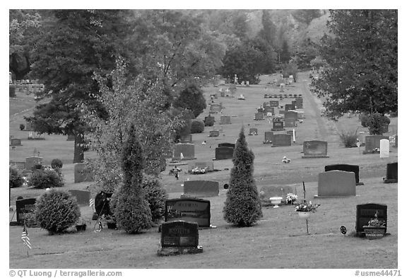 Grassy cemetery in the fall, Greenville. Maine, USA (black and white)