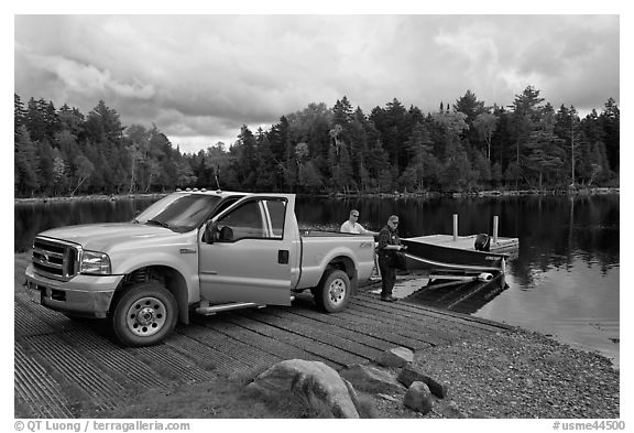 Boat loaded at ramp, Lily Bay State Park. Maine, USA (black and white)