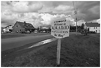Welcome to Kokadjo sign. Maine, USA (black and white)