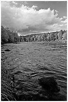 Penobscot River in autumn, late afternoon. Maine, USA ( black and white)