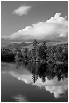 Cloud-capped Katahdin range and water reflections in autumn. Baxter State Park, Maine, USA ( black and white)