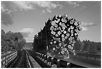 Truck carrying logs, Abol bridge. Maine, USA (black and white)