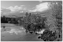 Trees in fall foliage reflected in wide  Penobscot River. Maine, USA ( black and white)