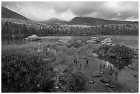 Mountains with fall colors rising above pond. Baxter State Park, Maine, USA (black and white)