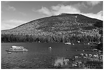 South Turner Mountain above Sandy Stream Pond in autumn. Baxter State Park, Maine, USA (black and white)