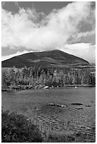 Clouds, mountain, and pond in autumn. Baxter State Park, Maine, USA ( black and white)