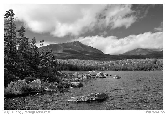 Cloud-capped Katahdin range and forest from Sandy Stream Pond. Baxter State Park, Maine, USA (black and white)