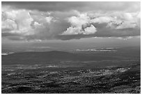 Storm clouds above autumn landscape. Baxter State Park, Maine, USA ( black and white)