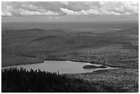Katahdin Lake in the distance. Baxter State Park, Maine, USA (black and white)
