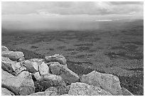 Moving rain front seen from South Turner Mountain. Baxter State Park, Maine, USA ( black and white)