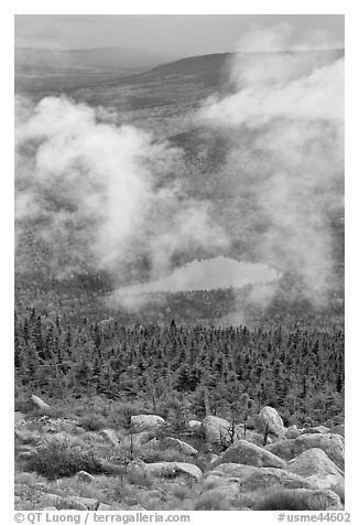 View from South Turner Mountain after the rain. Baxter State Park, Maine, USA (black and white)