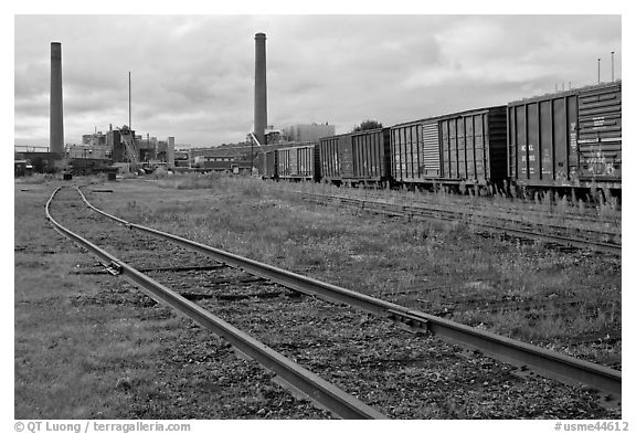 Railroad and mill, Millinocket. Maine, USA