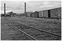 Railroad and mill, Millinocket. Maine, USA (black and white)