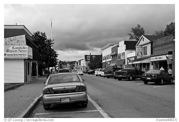 Street and stores, Millinocket. Maine, USA (black and white)