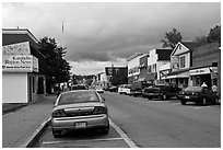 Street and stores, Millinocket. Maine, USA ( black and white)