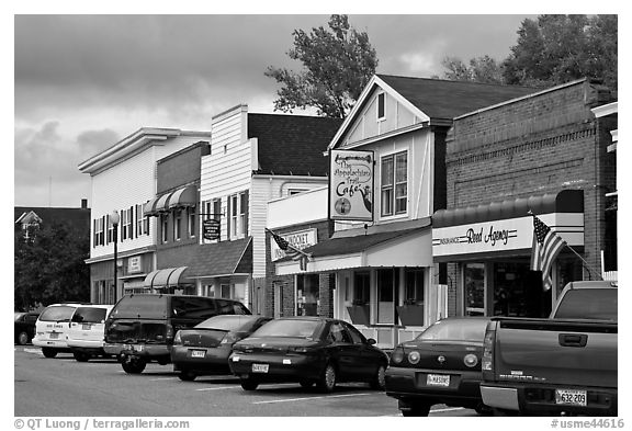Businesses on main street, Millinocket. Maine, USA (black and white)