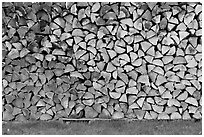Wall of firewood, Millinocket. Maine, USA (black and white)