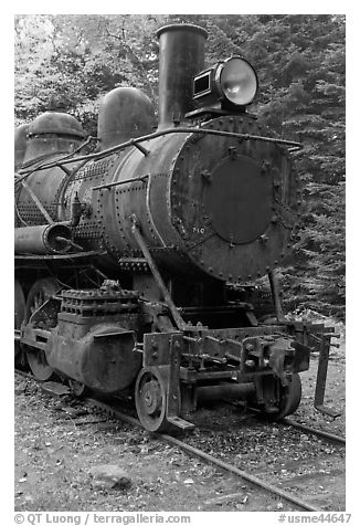 Nose of rusting steam locomotive. Allagash Wilderness Waterway, Maine, USA (black and white)