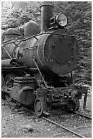 Nose of rusting steam locomotive. Allagash Wilderness Waterway, Maine, USA ( black and white)