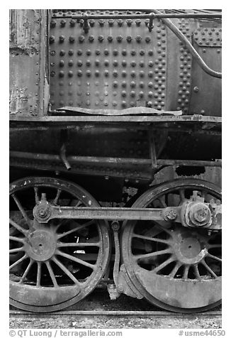 Close-up of rusting locomotive. Allagash Wilderness Waterway, Maine, USA (black and white)