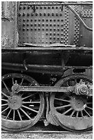 Close-up of rusting locomotive. Allagash Wilderness Waterway, Maine, USA ( black and white)