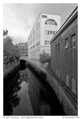 Downtown buildings bordering Kenduskeag stream. Bangor, Maine, USA (black and white)