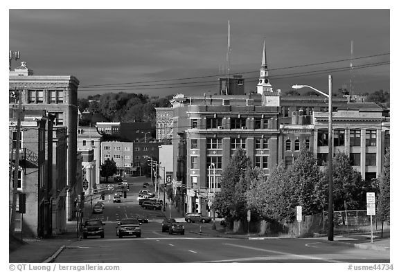 State Street and downtown. Bangor, Maine, USA (black and white)