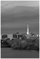 White steepled church and brick buildings. Bangor, Maine, USA (black and white)