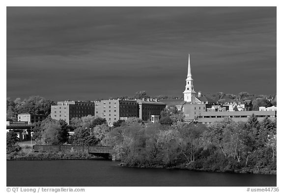 Penobscot River and downtown with storm clouds. Bangor, Maine, USA (black and white)