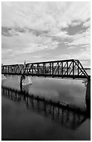 Railway bridge crossing Penobscot River. Bangor, Maine, USA (black and white)