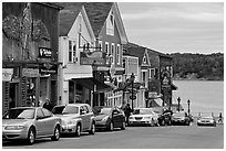 Street, Frenchman Bay and Bar Island. Bar Harbor, Maine, USA ( black and white)