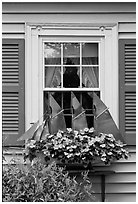 Window with decorative sailboat and flowers. Bar Harbor, Maine, USA (black and white)
