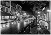 Main street at night. Bar Harbor, Maine, USA ( black and white)